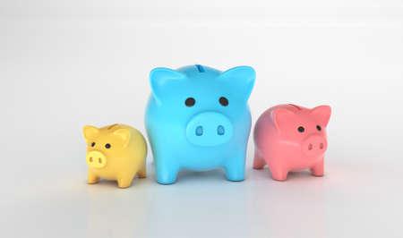 Various piggy banks. Money distribution concept. 3d render Фото со стока