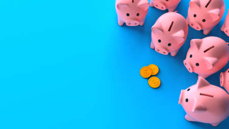 Profit sharing. Separation of attachments. Top view. Crowd of piggy banks and a stack of gold coins of money on a blue background. Copy space for text. 3d render