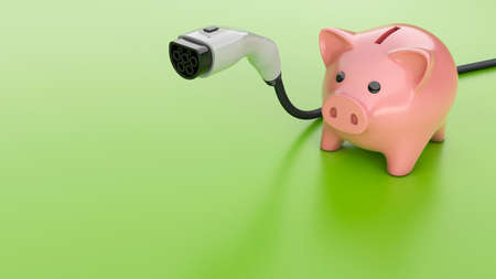 Electric car plug and piggy bank on a green background. Copy space for text. 3d render