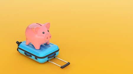Piggy bank on travel suitcase. Economical, budget tourism concept. yellow background. Copy space for text. 3d render