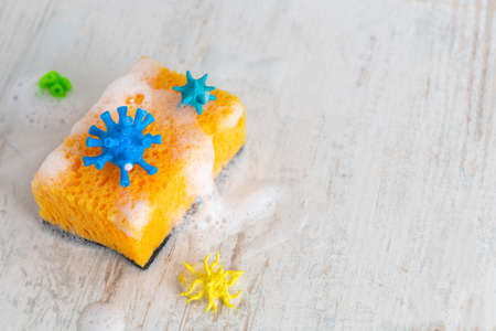 Sponge for washing with viruses and germs. Copy space for text