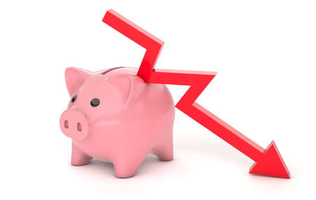 Piggy bank and red down arrow. Savings loss schedule, bankruptcy, failure. isolated on white background. 3d render Stock Photo