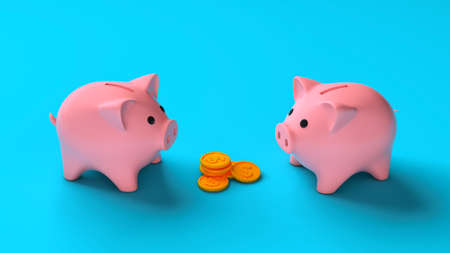 Two piggy banks near a stack of coins. Sharing profits into piggy banks. 3d render