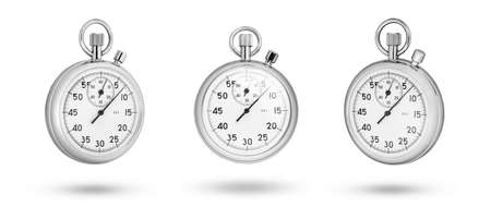 Stopwatch set. Stopwatch front and side isolated on white background
