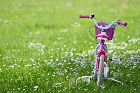 niños en bicicleta: Ciclismo para los niños en la hierba Foto de archivo