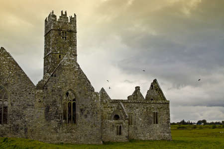 Overcast landscape of Ross Friary, Ireland. photo