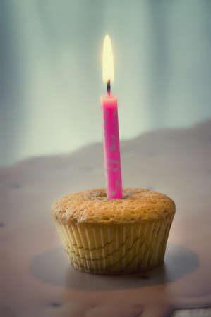 muffin with candle photo