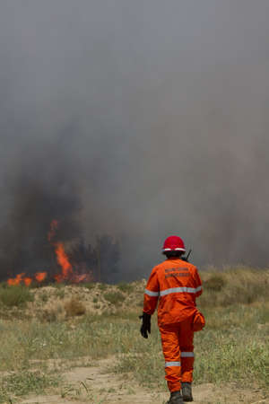 Firefighter extinguishes the fire in the fields photo