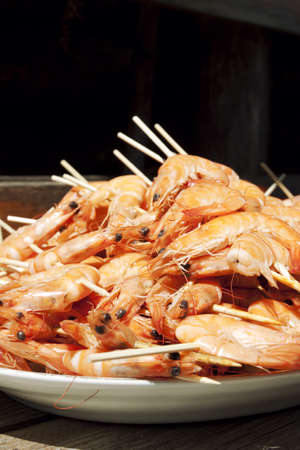 seafruit: Grilled Shrimp Stock Photo