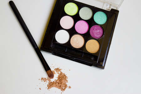Colored eye shadow brush photo