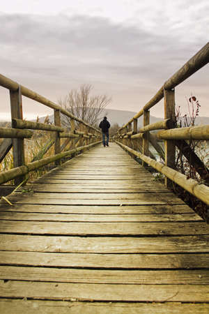 walking path: wooden bridge