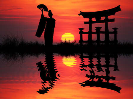 Silhouette illustration Geisha photo