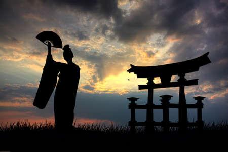 geisha girl: Geisha silhouette Editorial