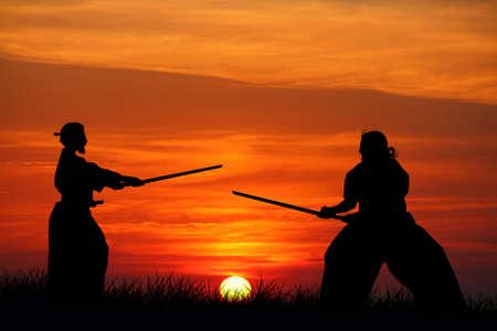 arts symbols: Aikido at sunset