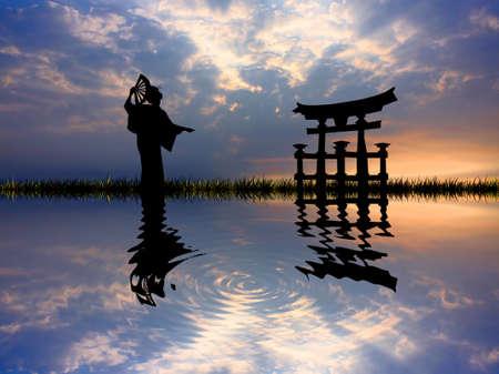 geisha kimono: Geisha at sunset Stock Photo