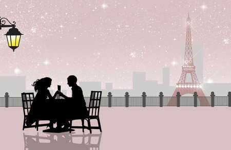 cena romantica: cena romantica a Parigi
