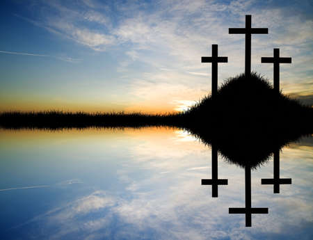 reflection of life: Cross at sunset