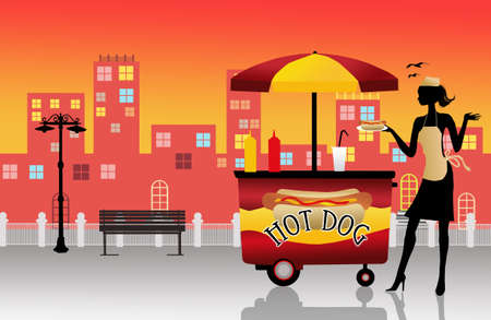 hot dog cart Stock Photo