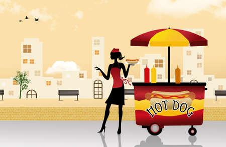 hot woman: hot dog cart illustration