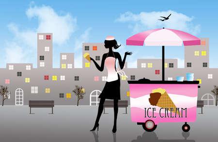 ice cream cart: ice cream cart illustration