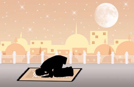hombre orando: hombre musulm�n orando Foto de archivo