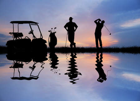 golfer at sunset Stock Photo - 16187521