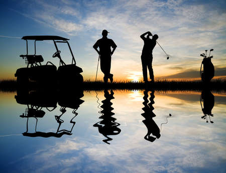 courses: golfer at sunset