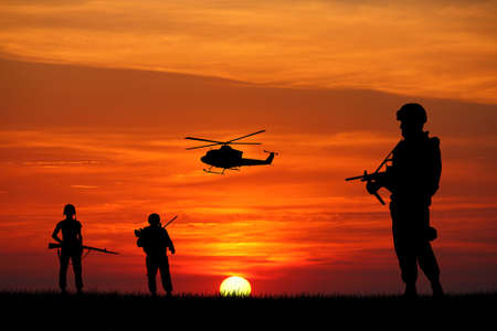 afghan: soldiers at sunset
