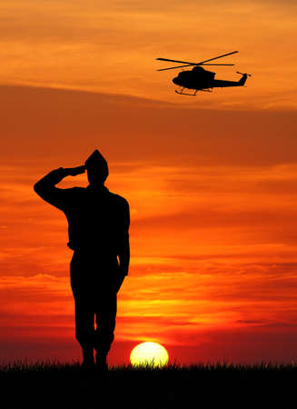 soldier at sunset photo