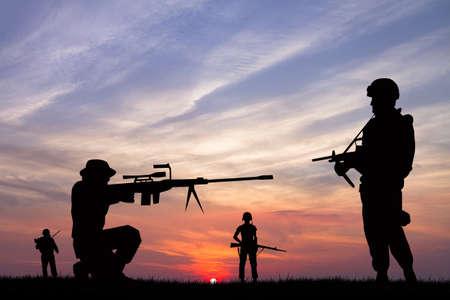 guerra: soldados en la guerra