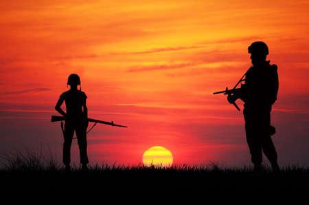 soldiers at war Standard-Bild