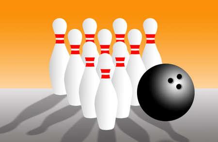 bowling pins and ball photo