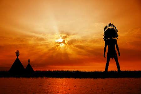 indio americano: Indio del nativo americano en la puesta del sol