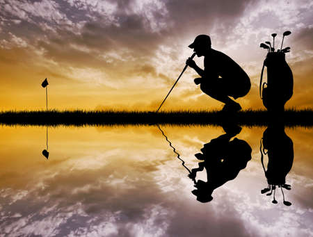 course of action: golfer at sunset