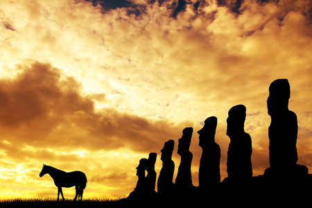 moai at Tongariki, Easter Island photo