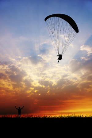 paragliding: Paragliding at sunset