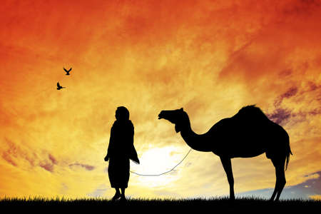 Bedouin with camel Stock Photo - 16930469