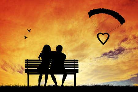 couple in love abstract illustration illustration