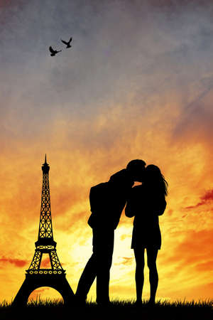 Romantic couple in Paris photo