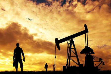 trabajador petroleros: Bomba de aceite al atardecer Foto de archivo