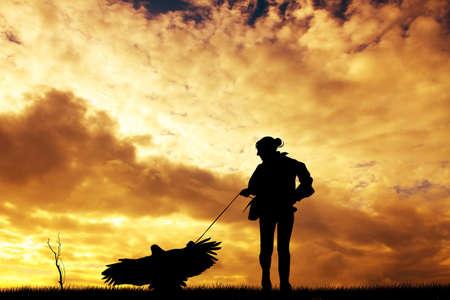silhouette aquila: Silhouette Aquila al tramonto