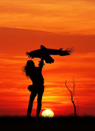 Falconer silhouette at sunset photo