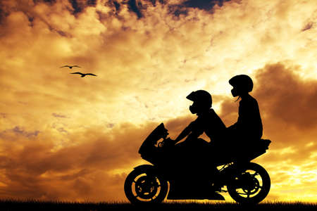 couple on a motorcycle photo