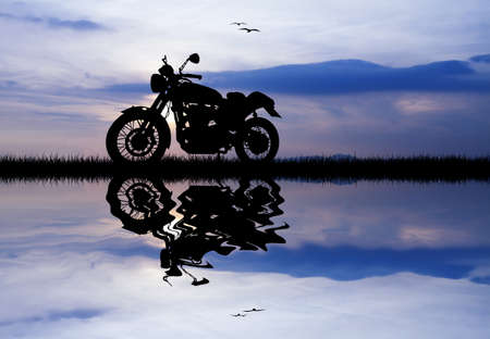 motorcycle at sunset photo