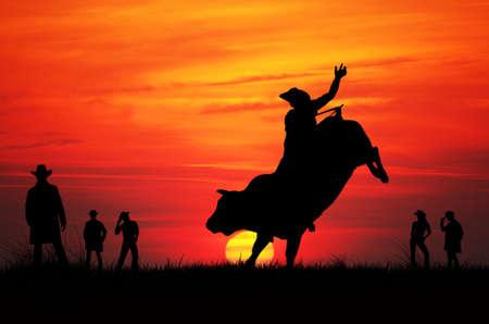 rodeo americano: Bull Rider Foto de archivo