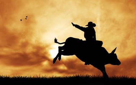 rodeo americano: Bull piloto al atardecer