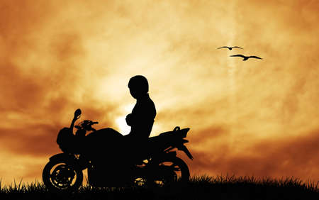 motorcyclist at sunset photo