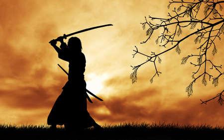 samurai sword: Samurai silhouette