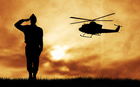 soldiers silhouette photo