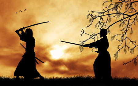 Samurai silhouette at sunset photo
